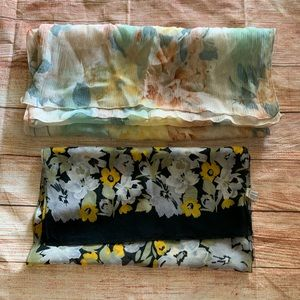 Two Vintage Flower Design Scarves - As Is